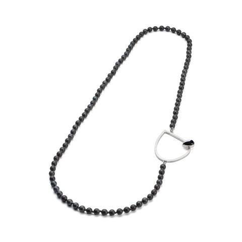 Long Necklace with Polished Hematite Beads
