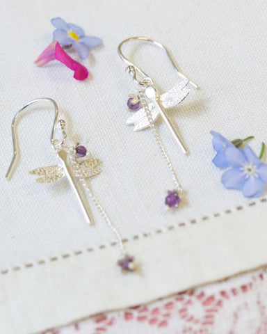 Dragonfly & Little Flower Earrings - Amanda coleman - Monkey Puzzle Jewellery