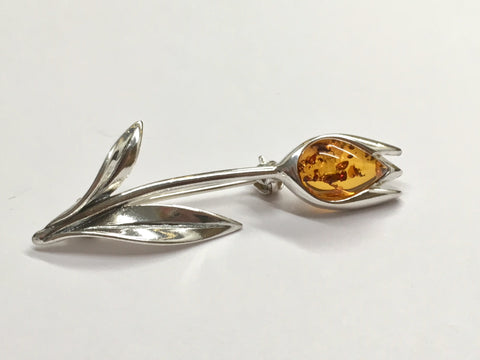 Silver and Amber Tulip Brooch