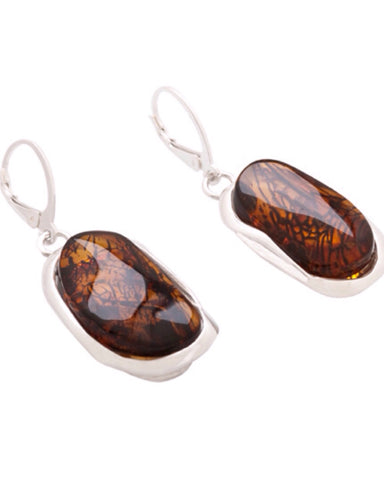 Amber Drop Earrings (6943) - Amber - Monkey Puzzle Jewellery