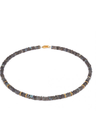 Labradorite And Gold Necklace - Bernd-wolf - Monkey Puzzle Jewellery