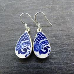 Blue and White Old Willow Earrings