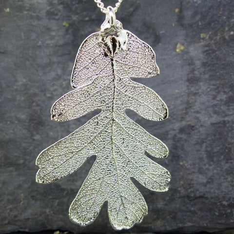 Large Silver Plated Oak Leaf Pendant