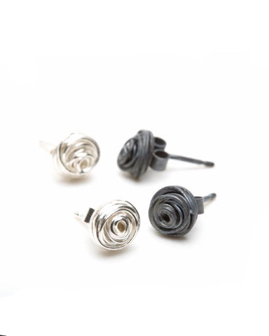 Wrap Oxidised Stud Earrings - Elizabeth Chamberlain - Monkey Puzzle Jewellery