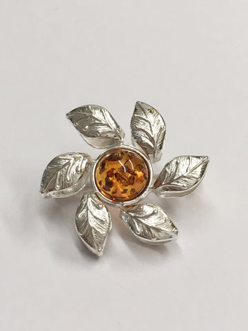 Silver and Amber Flower Brooch