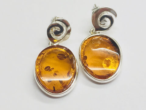 Amber and Silver Swirl Earring