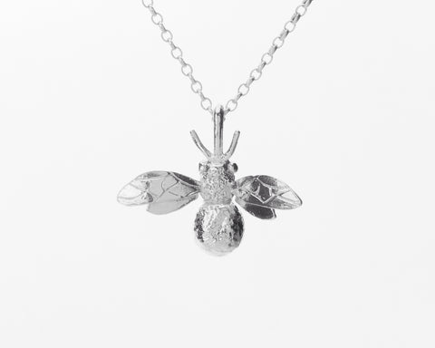 Silver Honey Bee Necklace - Pretty Wild Jewellery - Monkey Puzzle Jewellery - 1