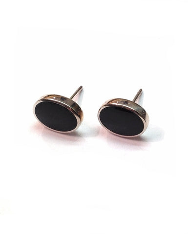 Black Onyx Oval Studs - Orlap - Monkey Puzzle Jewellery