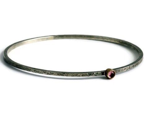 Blossom Bangle Pink Tourmaline - Pretty Wild Jewellery - Monkey Puzzle Jewellery - 1