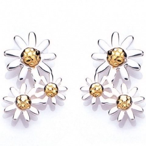 Silver and Gold Three Tier Daisy Drop Earrings - Daisy - Monkey Puzzle Jewellery