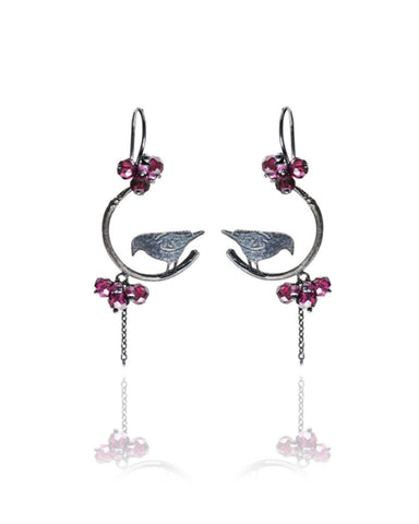 Raven On Branch Earrings - Amanda coleman - Monkey Puzzle Jewellery