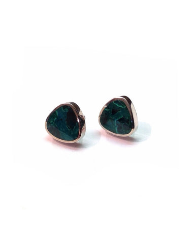 Chrysocolla Studs Large Triangles - Orlap - Monkey Puzzle Jewellery