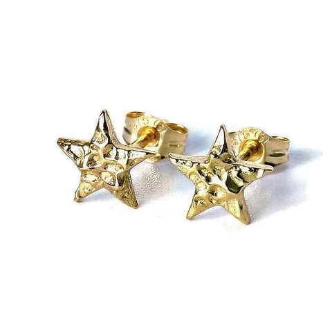 Handmade Textured Solid Gold Stud Earrings