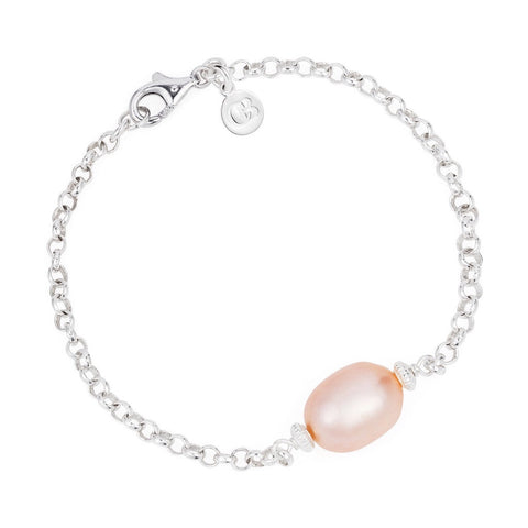 Hera Pink Pearl And Silver Bracelet - Claudia Bradby - Monkey Puzzle Jewellery