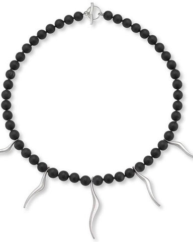 Silver Flame Necklace with Black Onyx Beads - Cornerstone Creations - Monkey Puzzle Jewellery