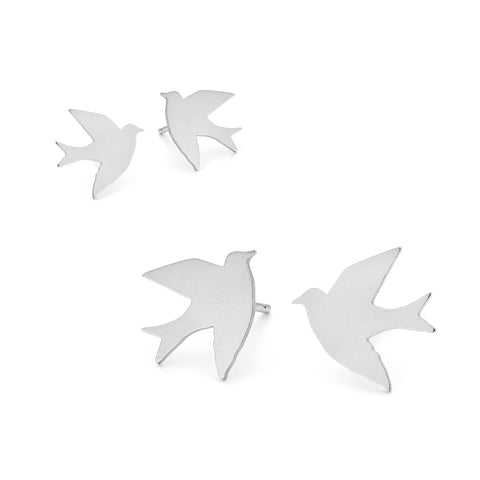 Tiny Silver Swallow Studs