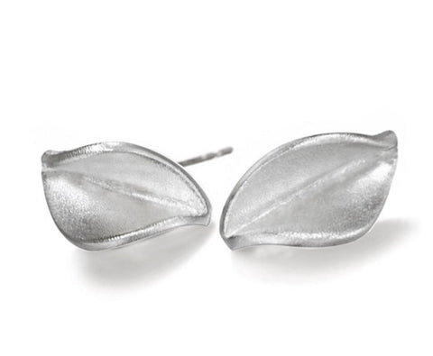 Silver Mavilo Leaf Stud Earrings - Collette Waudby - Monkey Puzzle Jewellery