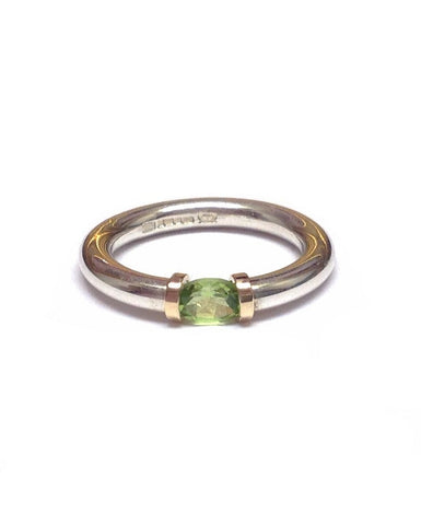 Peridot and Silver Tension Ring - Anthony Blakeney - Monkey Puzzle Jewellery