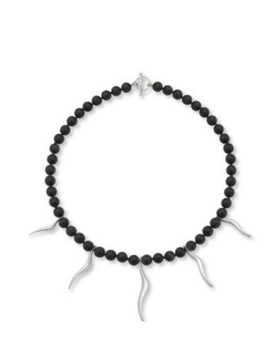 Black Agate and Silver Beads. - Cornerstone Creations - Monkey Puzzle Jewellery
