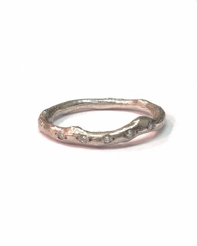 Sterling Silver and Diamond Twig Ring - Anthony Blakeney - Monkey Puzzle Jewellery