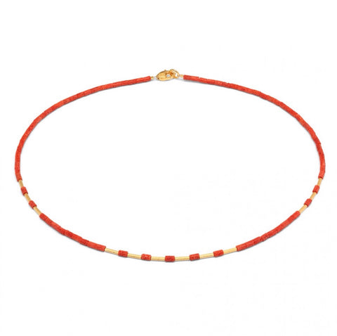 Dremiani Coral and Gold Necklace - Bernd-wolf - Monkey Puzzle Jewellery