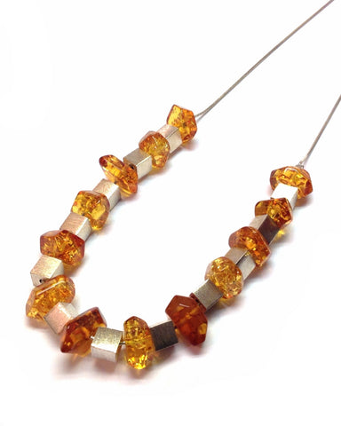 Amber and Silver Cube Necklace - Amber - Monkey Puzzle Jewellery