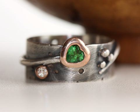 Love Grows Tsavorite & Diamond Wide Ring - Pretty Wild Jewellery - Monkey Puzzle Jewellery - 1
