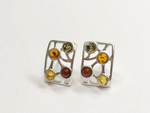 Rectangular Four Stone Amber Earrings