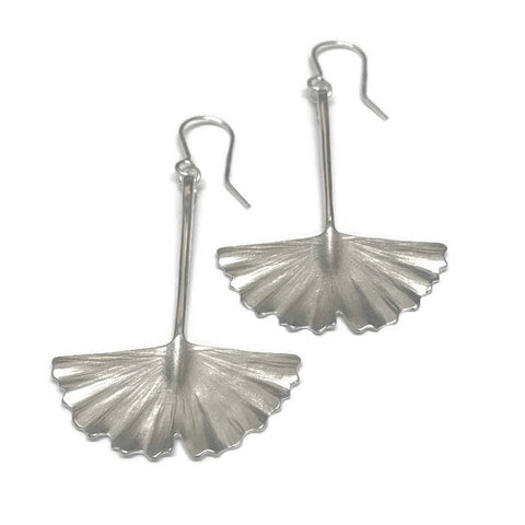 Silver Ginkgo Leaf Drop Earrings