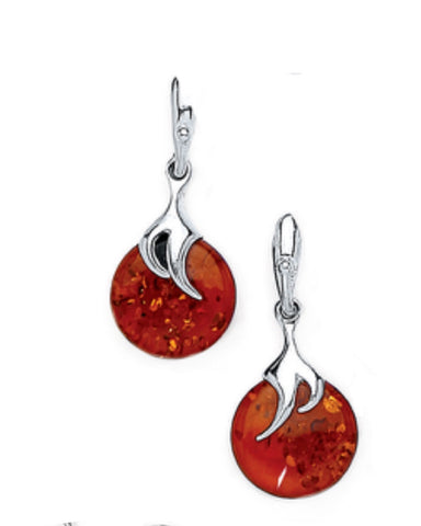 Amber And Silver Round Claw Earrings - Goldmajor - Monkey Puzzle Jewellery