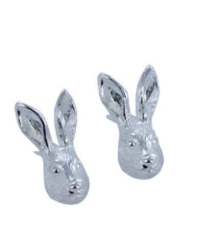Silver Hare Stud Earrings - Reeves & Reeves - Monkey Puzzle Jewellery