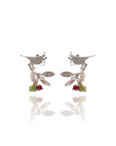 Bird On Branch with Leaves Earrings - Amanda coleman - Monkey Puzzle Jewellery