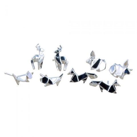 Origami Rabbit Stud - Reeves & Reeves - Monkey Puzzle Jewellery