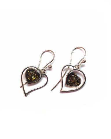Heart Green Amber Earrings - Amber - Monkey Puzzle Jewellery