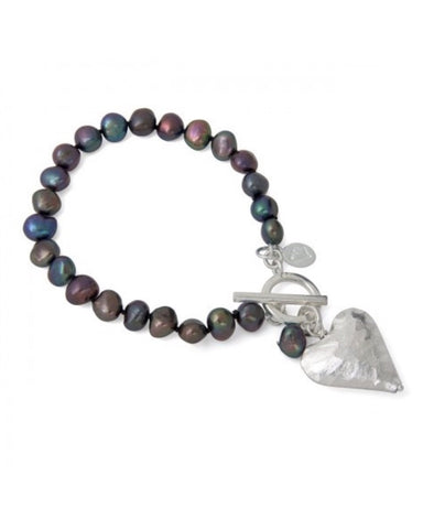 Peacock Pearl Bracelet with Heart Charm - Claudia Bradby - Monkey Puzzle Jewellery