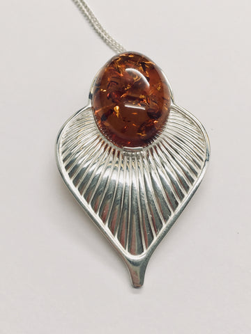Art Deco Amber and Silver Pendant