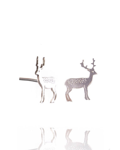 Earrings with Silver Stag - Amanda coleman - Monkey Puzzle Jewellery