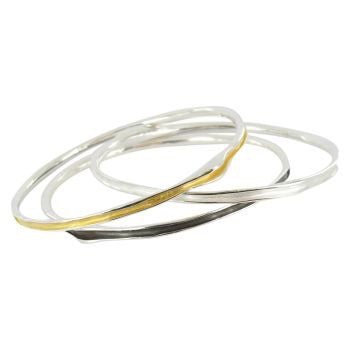 Gold Tri colour Bangle - Reeves & Reeves - Monkey Puzzle Jewellery