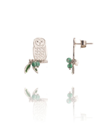 Owl on Branch Ear Studs - Amanda coleman - Monkey Puzzle Jewellery