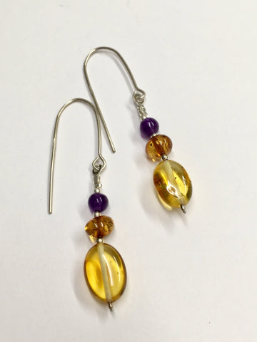 Amber and Amethyst Earrings