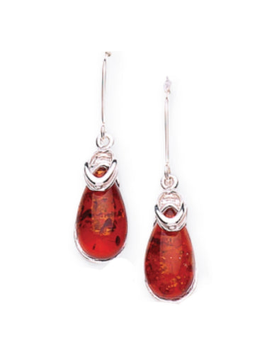 Amber And Silver Teardrop Earrings - Goldmajor - Monkey Puzzle Jewellery