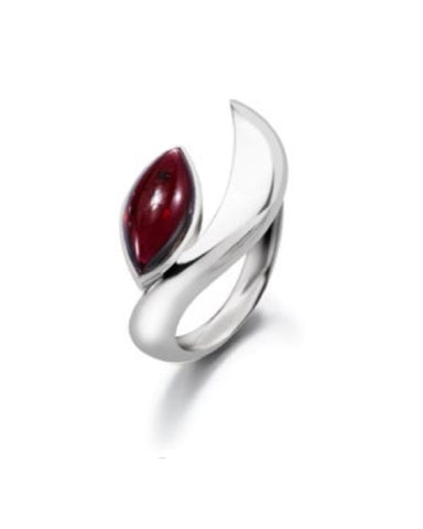 Silver and Garnet Crescent Cornerstone Ring - Cornerstone Creations - Monkey Puzzle Jewellery