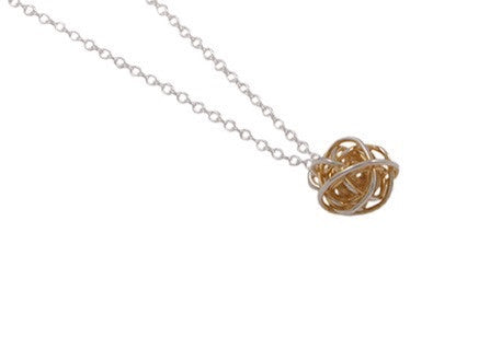 Gold Plated Silver Wire Wrap Ball Pendant