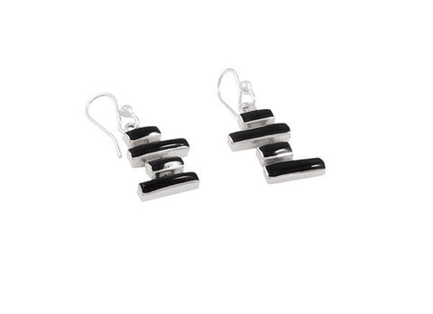 Rectangular Jet Earrings - Amapola - Monkey Puzzle Jewellery