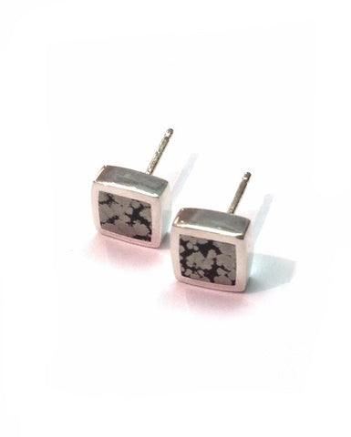 Iron Pyrites Small Square Studs - Orlap - Monkey Puzzle Jewellery