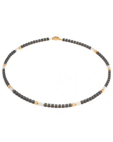 Hematite And Gold Cube Necklace - Bernd-wolf - Monkey Puzzle Jewellery