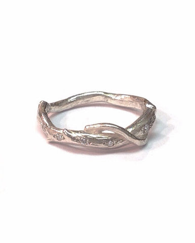 Silver and Diamond Twig Ring - Anthony Blakeney - Monkey Puzzle Jewellery