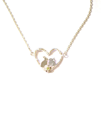 Kissing Bunnies in Heart - Amanda coleman - Monkey Puzzle Jewellery