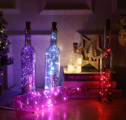 String Lights Glass Bottles
