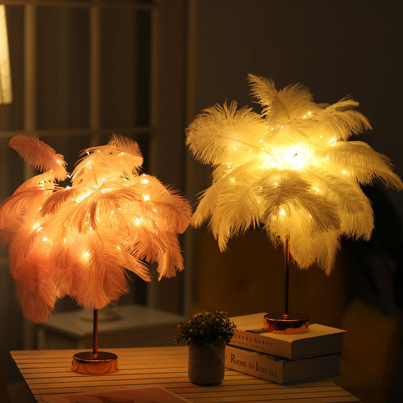 Feather Shade LED Desk Lamp